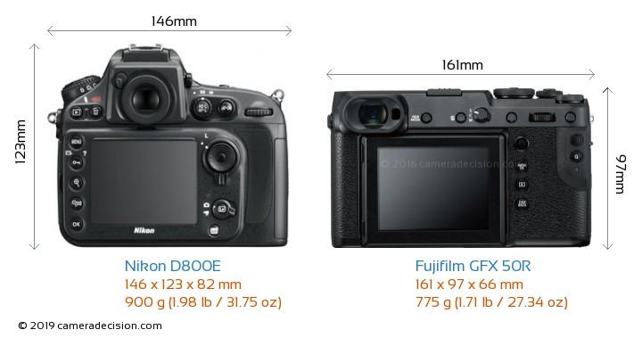 Nikon D800E vs Fujifilm GFX 50R Camera Size Comparison - Back View