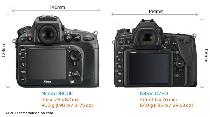 Nikon D800E vs Nikon D780 Camera Size Comparison - Back View