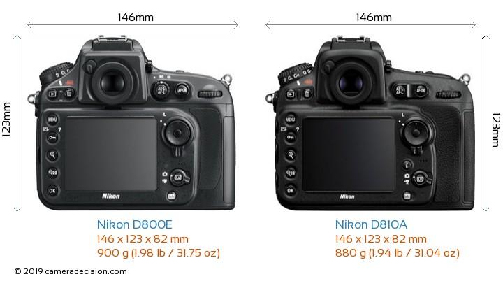 Nikon D800E vs Nikon D810A Camera Size Comparison - Back View