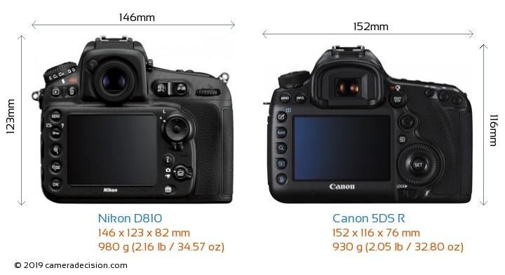 Nikon D810 vs Canon 5DS R Camera Size Comparison - Back View