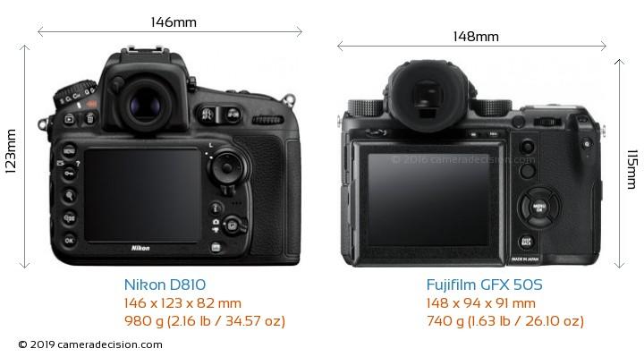 Nikon D810 vs Fujifilm GFX 50S Camera Size Comparison - Back View