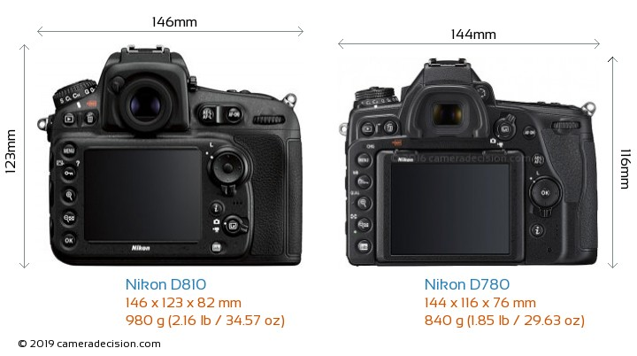 Nikon D810 vs Nikon D780 Camera Size Comparison - Back View