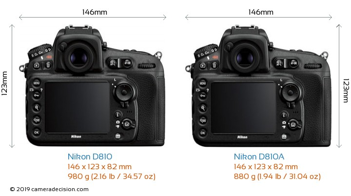 Nikon D810 vs Nikon D810A Camera Size Comparison - Back View