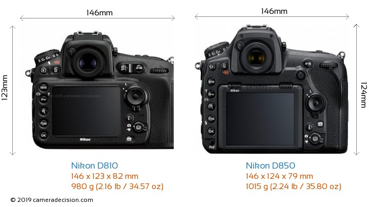 Nikon D810 vs Nikon D850 Camera Size Comparison - Back View