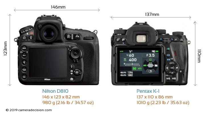 Nikon D810 vs Pentax K-1 Camera Size Comparison - Back View