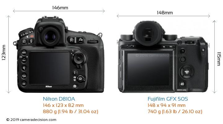 Nikon D810A vs Fujifilm GFX 50S Camera Size Comparison - Back View