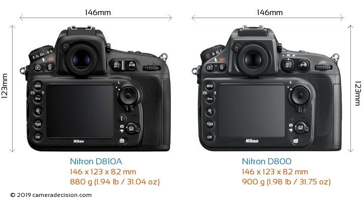 Nikon D810A vs Nikon D800 Camera Size Comparison - Back View