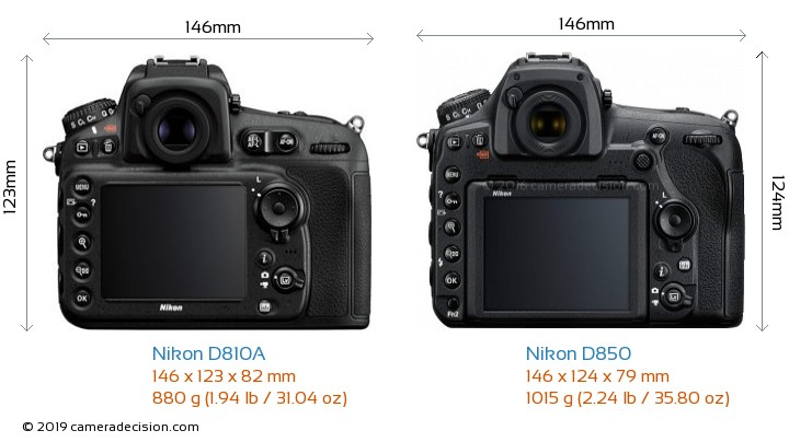 Nikon D810A vs Nikon D850 Camera Size Comparison - Back View