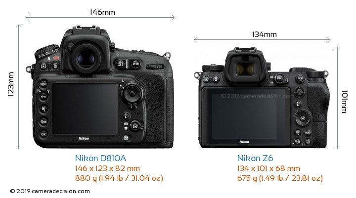 Nikon D810A vs Nikon Z6 Camera Size Comparison - Back View