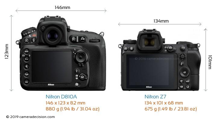 Nikon D810A vs Nikon Z7 Camera Size Comparison - Back View