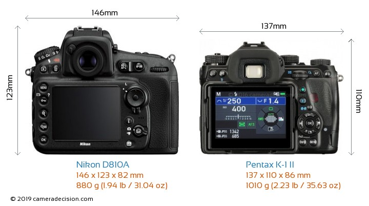 Nikon D810A vs Pentax K-1 II Camera Size Comparison - Back View