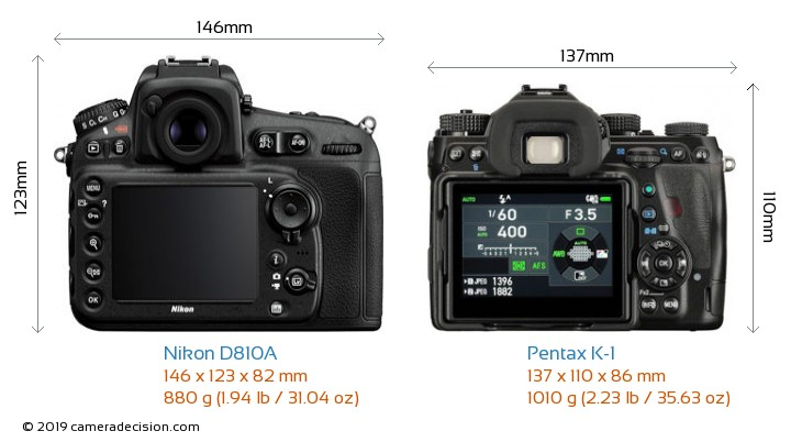 Nikon D810A vs Pentax K-1 Camera Size Comparison - Back View