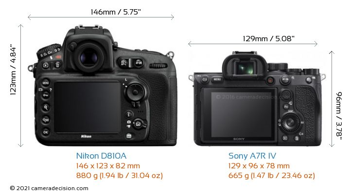 Nikon D810A vs Sony A7R IV Camera Size Comparison - Back View
