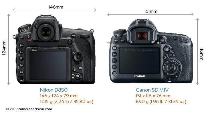 Nikon D850 vs Canon 5D MIV Camera Size Comparison - Back View