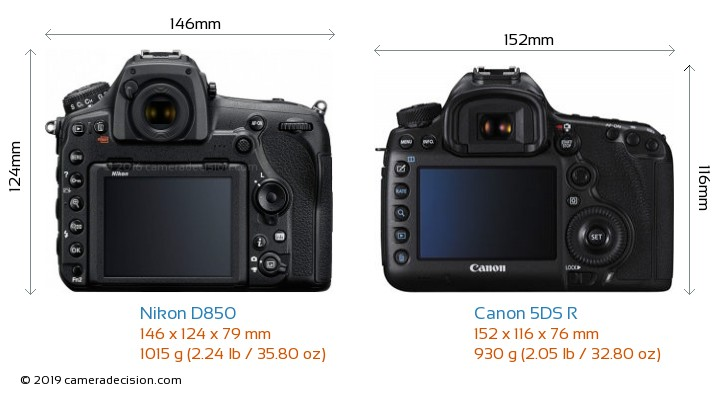 Nikon D850 vs Canon 5DS R Camera Size Comparison - Back View