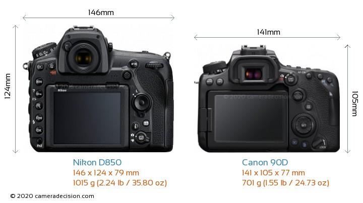 Nikon D850 vs Canon 90D Camera Size Comparison - Back View