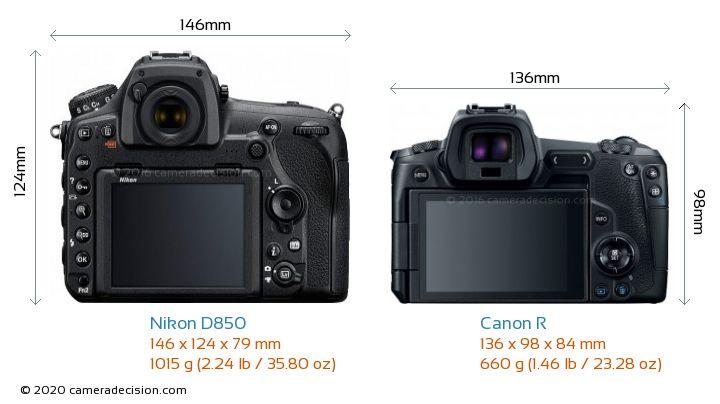 Nikon D850 vs Canon R Camera Size Comparison - Back View