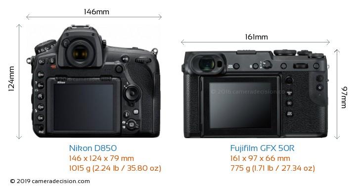 Nikon D850 vs Fujifilm GFX 50R Camera Size Comparison - Back View