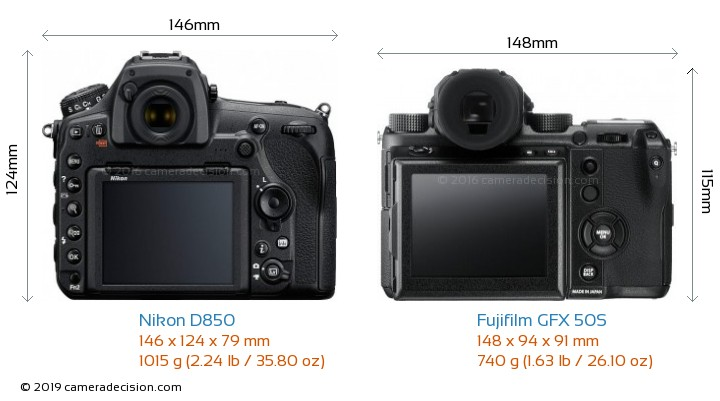 Nikon D850 vs Fujifilm GFX 50S Camera Size Comparison - Back View
