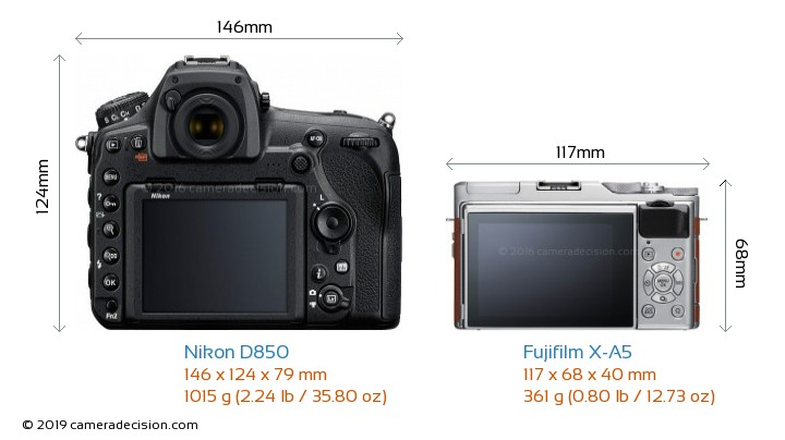 Nikon D850 vs Fujifilm X-A5 Camera Size Comparison - Back View