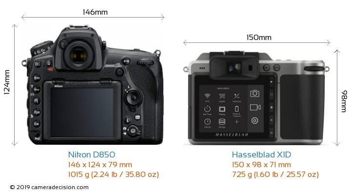 Nikon D850 vs Hasselblad X1D Camera Size Comparison - Back View