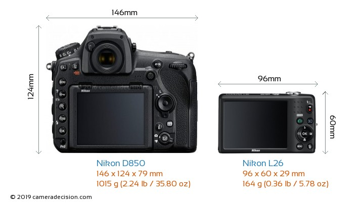 Nikon D850 vs Nikon L26 Camera Size Comparison - Back View