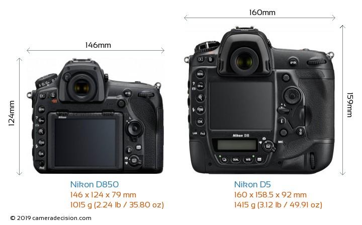 Nikon D850 vs Nikon D5 Camera Size Comparison - Back View