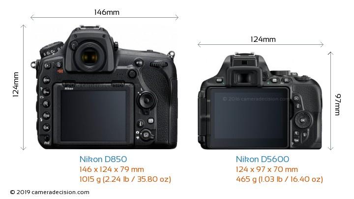Nikon D850 vs Nikon D5600 Camera Size Comparison - Back View