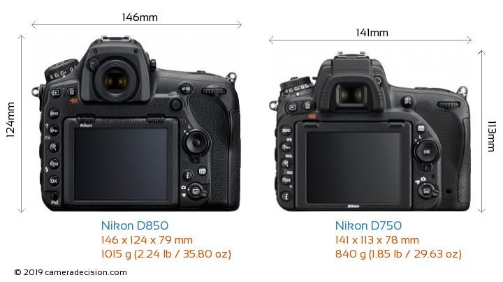 Nikon D850 vs Nikon D750 Camera Size Comparison - Back View