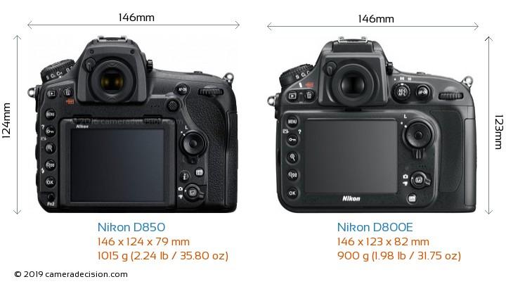 Nikon D850 vs Nikon D800E Camera Size Comparison - Back View