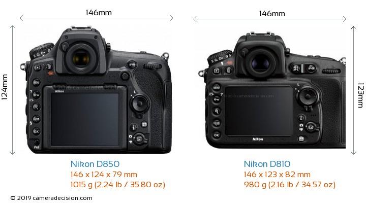 Nikon D850 vs Nikon D810 Camera Size Comparison - Back View