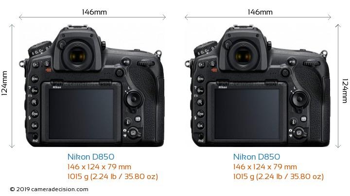 Nikon D850 vs Nikon D850 Camera Size Comparison - Back View