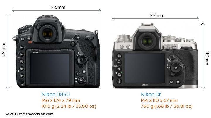Nikon D850 vs Nikon Df Camera Size Comparison - Back View