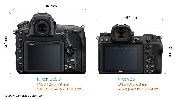 Nikon D850 vs Nikon Z6 Camera Size Comparison - Back View