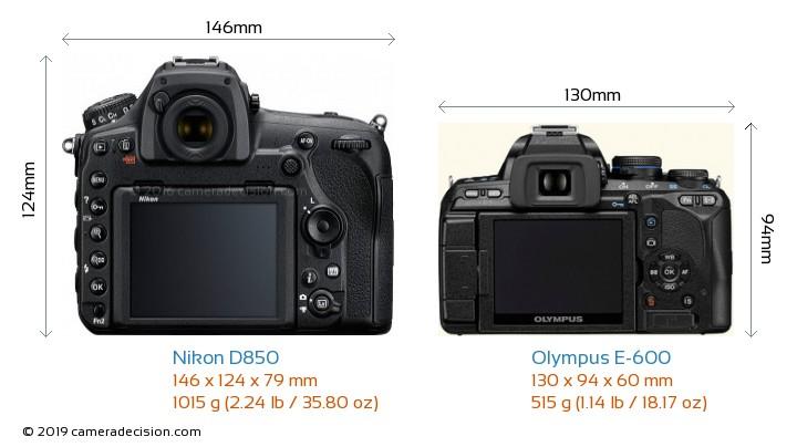 Nikon D850 vs Olympus E-600 Camera Size Comparison - Back View