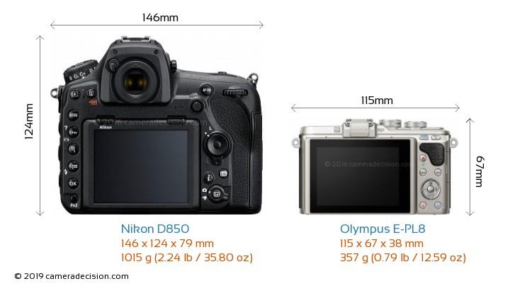 Nikon D850 vs Olympus E-PL8 Camera Size Comparison - Back View