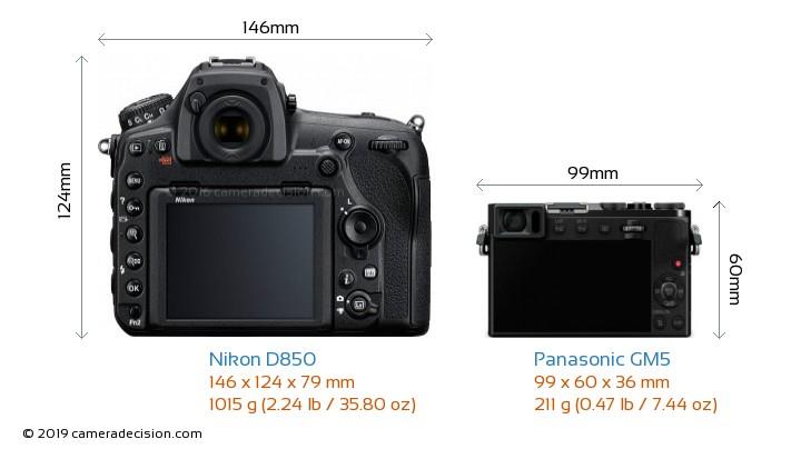 Nikon D850 vs Panasonic GM5 Camera Size Comparison - Back View