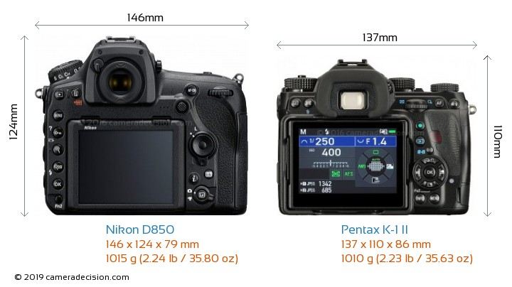 Nikon D850 vs Pentax K-1 II Camera Size Comparison - Back View