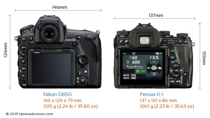 Nikon D850 vs Pentax K-1 Camera Size Comparison - Back View