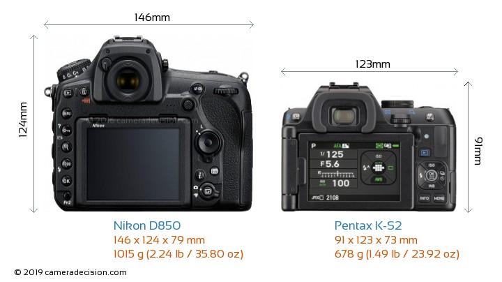 Nikon D850 vs Pentax K-S2 Camera Size Comparison - Back View