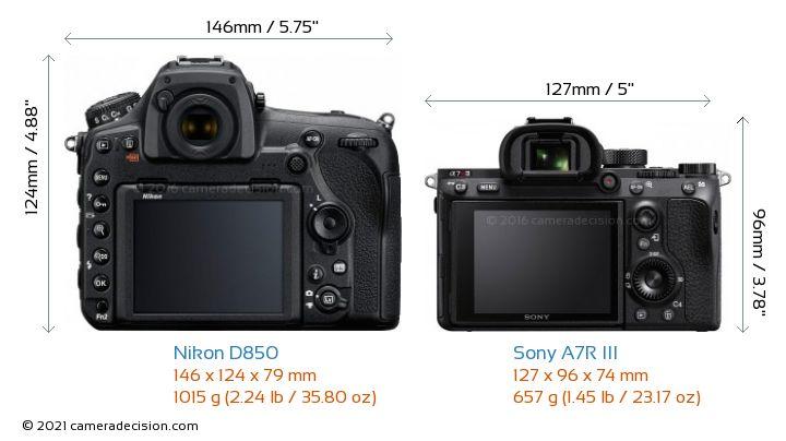 Nikon D850 vs Sony A7R III Camera Size Comparison - Back View