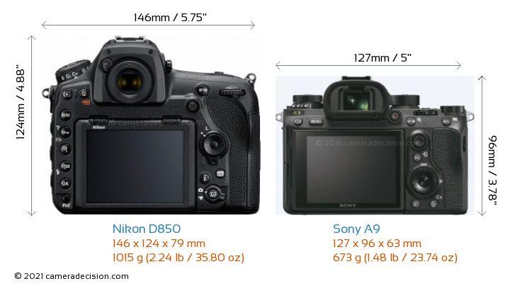 Nikon D850 vs Sony A9 Camera Size Comparison - Back View