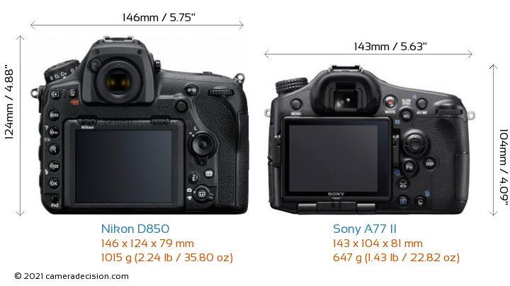 Nikon D850 vs Sony A77 II Camera Size Comparison - Back View