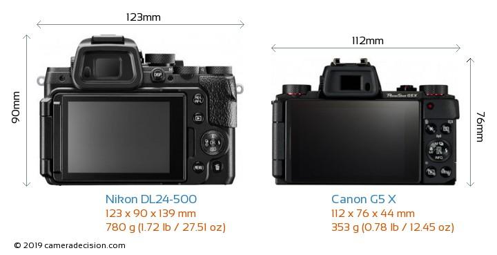 Nikon DL24-500 vs Canon G5 X Camera Size Comparison - Back View