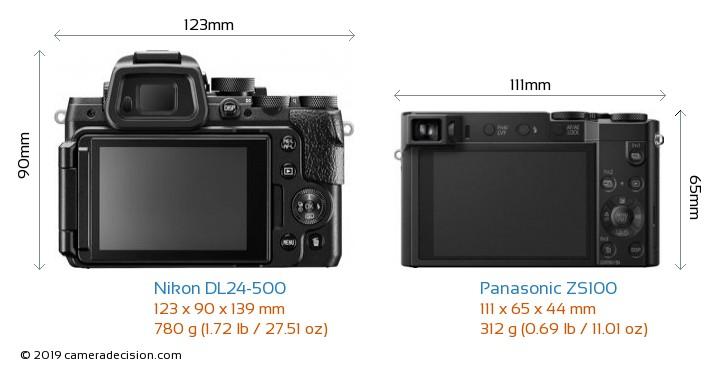 Nikon DL24-500 vs Panasonic ZS100 Camera Size Comparison - Back View