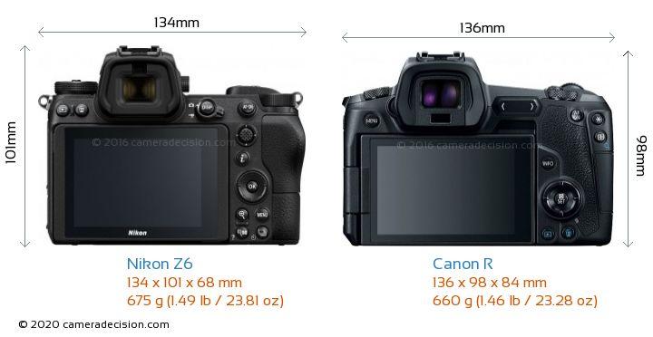 Nikon Z6 vs Canon R Camera Size Comparison - Back View
