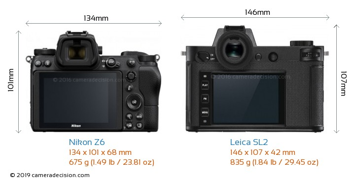 Nikon Z6 vs Leica SL2 Camera Size Comparison - Back View