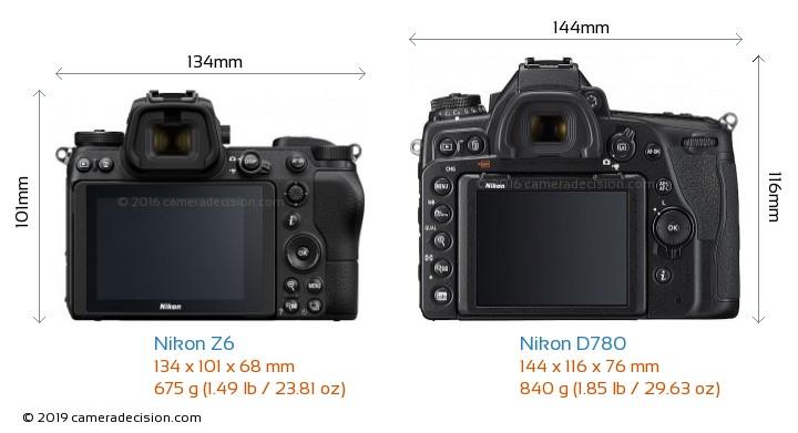 Nikon Z6 vs Nikon D780 Camera Size Comparison - Back View