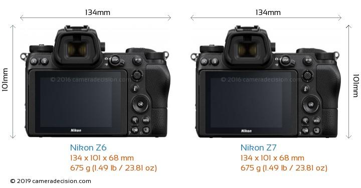 Nikon Z6 vs Nikon Z7 Camera Size Comparison - Back View