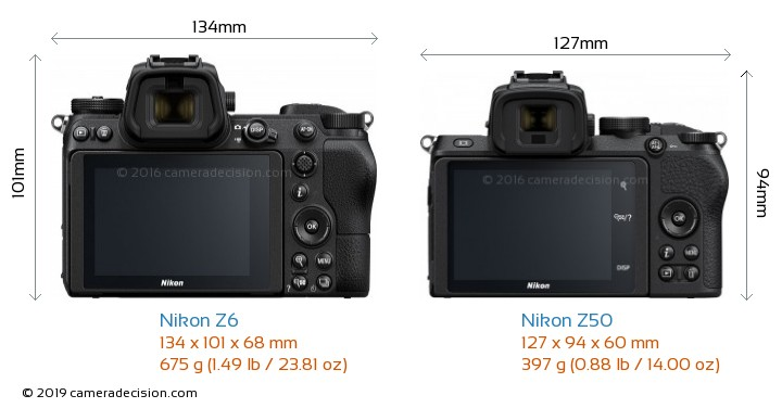 Nikon Z6 vs Nikon Z50 Camera Size Comparison - Back View